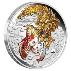 The Koi Fish Jumps the Dragon Gate 2016 5oz Silver Proof Coloured Coin