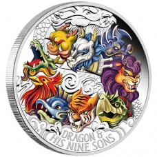 Dragon and His Nine Sons 2015 5oz Silver Proof Coloured Coin