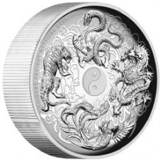 CHINESE ANCIENT MYTHICAL CREATURES 2015 5OZ SILVER PROOF HIGH RELIEF COIN