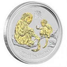 AUSTRALIAN LUNAR SILVER COIN SERIES II 2016 YEAR OF THE MONKEY 1OZ SILVER GILDED EDITION