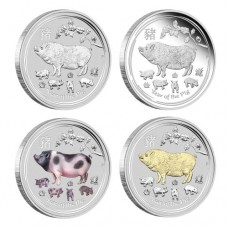 Lunar II 2019 Pig 1oz Silver Typeset Collection