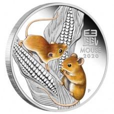 Australian Lunar 2020 Mouse 1oz Silver colour Coin