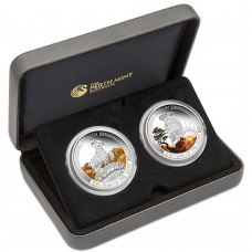 LUNAR GOOD FORTUNE 2015 YEAR OF THE GOAT 1OZ SILVER PROOF TWO-COIN SET