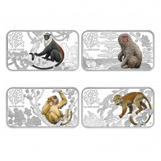 LUNAR CALENDAR COIN SERIES 2016 YEAR OF THE MONKEY 1OZ SILVER PROOF FOUR-COIN SET