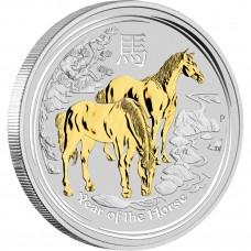 AUSTRALIAN LUNAR II 2014 YEAR OF THE HORSE 1OZ SILVER GILDED EDITION