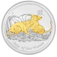 AUSTRALIAN LUNAR SILVER COIN SERIES II 2008 YEAR OF THE MOUSE GILDED EDITION