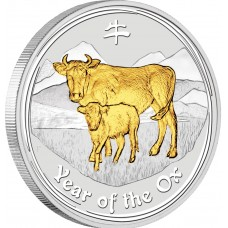 AUSTRALIAN LUNAR SILVER COIN SERIES II 2009 YEAR OF THE OX GILDED EDITION